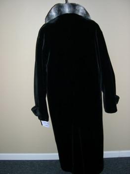 Men's Black Faux Beaver w/ Chinchilla Long Coat
