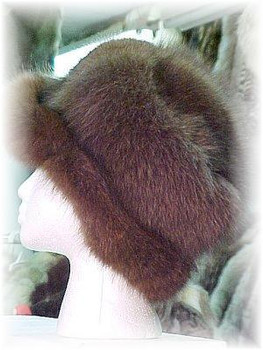 Brown Fox Hat with Dark Brown Fox Trim