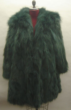 Green Fox Fur with hood and Large Collar