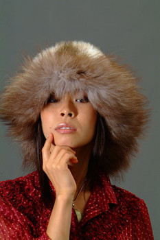 Faux Fur Hat w/ Real Brown Fox Fur Trim