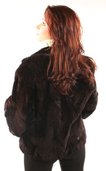 Sheared Mink Stand Up Collar Woman's Jacket