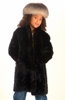 Kids Black Sheared Mink 3/4 Jacket