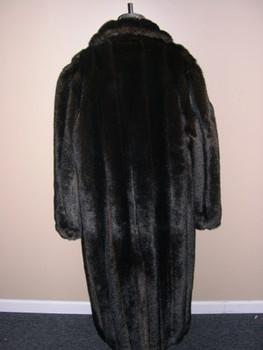 Mahogany Faux Mink Long Coat