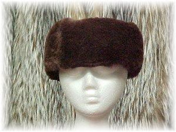 Dyed Brown Sectional Sheared Mink Fur HeadWare