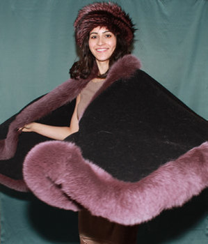 Black Cape with Fox Fur Trim