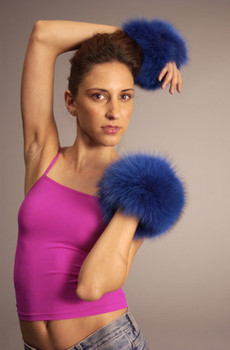 Buy Dyed Blue Fox Fur Cuffs