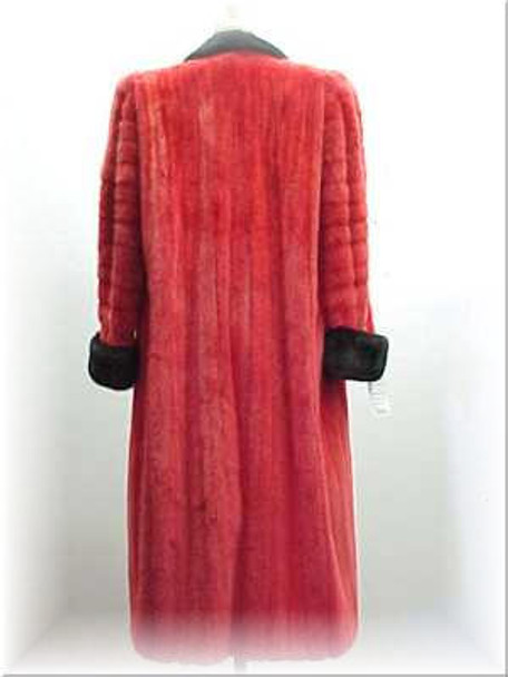Classic Dyed Red Mink With Black Mink Trim