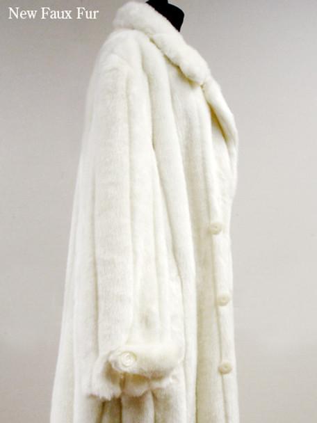 Faux Fur White Mink Long Coat
