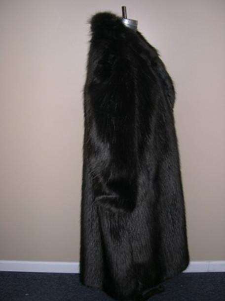 Dark Brown Faux Fox Long Coat