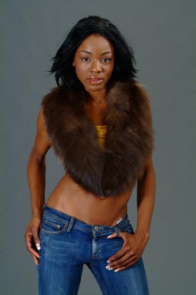 Brown Fox Fur Collar
