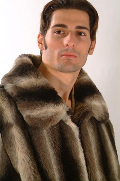 Brown Chinchilla Faux Fur Bomber Jacket
