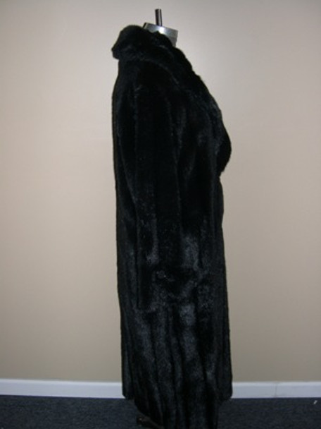 Black Faux Mink Long Coat