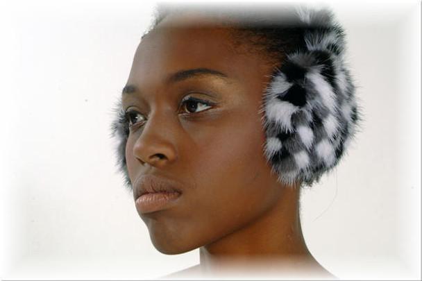 White & Gray Mink Fur Earmuffs