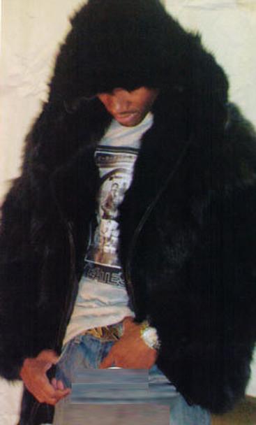 Black Fox Section Mens Fur Bomber Hooded Jacket