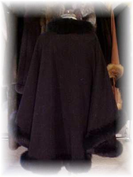 Black Cape with Black Fox Fur Tail Trim