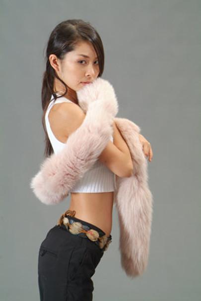 Beige Fox Tail Fur Scarf