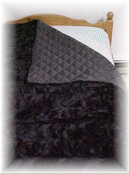 Black Sectional Mink Fur Blanket