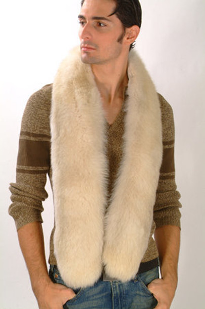 Blue Fox Fur Men's Design Sectional Scarf