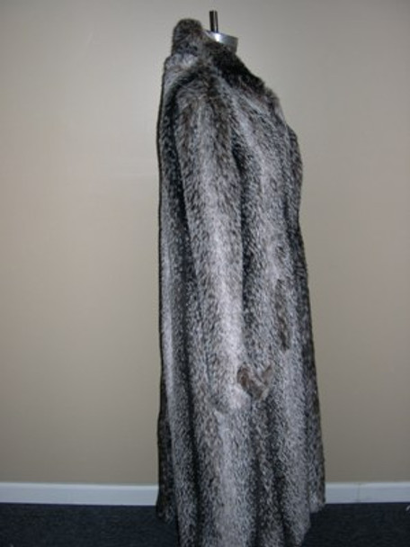 Men's Faux Badger Long Coat