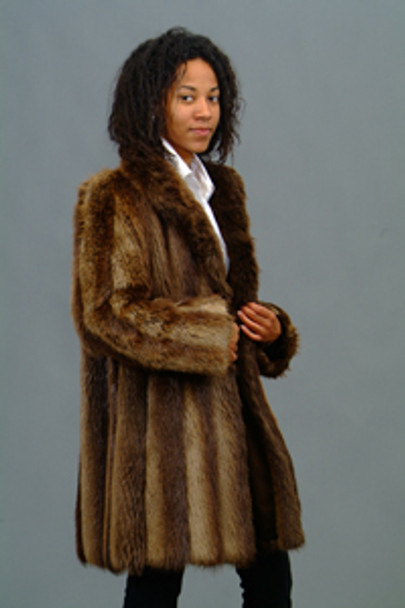 Vintage Beaver Fur Woman's 3/4 Jacket