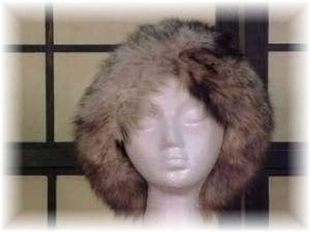 Black Faux Fur Hat with Dyed Blue Fox Trim