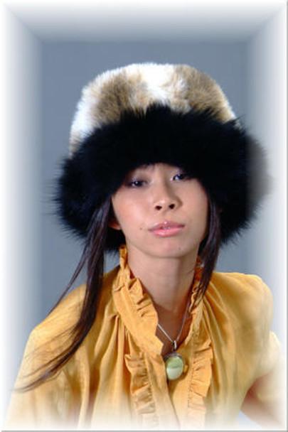 Faux Fur Hat with Black Fox Trim