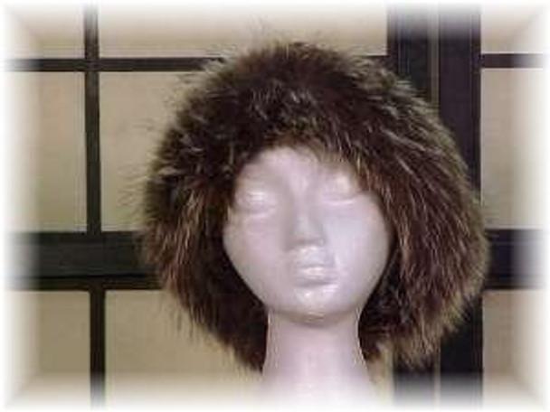 Black Faux Fur Hat with Full Skin Raccoon