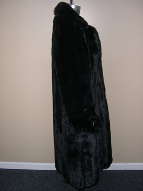 Black Faux Mink Long Coat 1