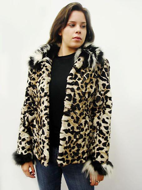 Black And White Print Fox Fur Jacket