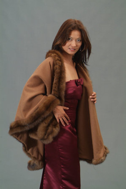 Buy Brown Cape with Sable Fur Trim