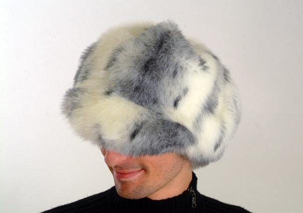 Gray White Faux Fur Cap Style Raccoon