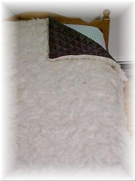 Bleached White Goat Fur Blanket