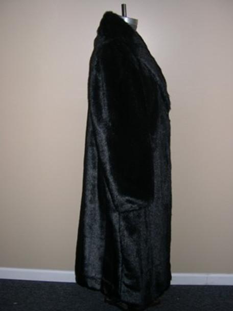 Dark Black Faux Mink Long Coat