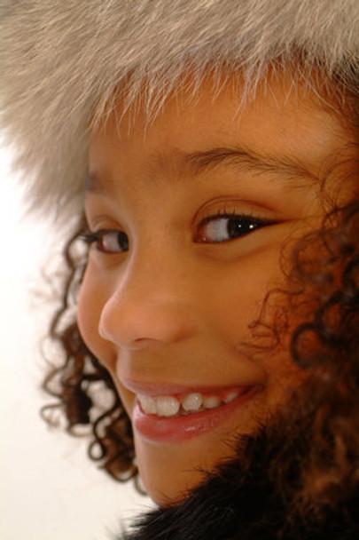 Kids Fox Fur Headwrap Indigo