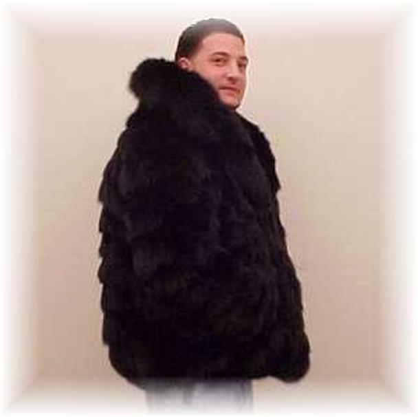 Black Fox Bomber Fur Jacket