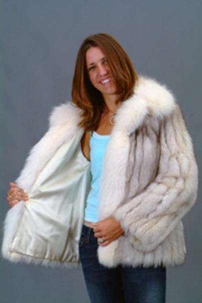 Vintage Fur Blue Fox Jacket With White Fox Tuxedo