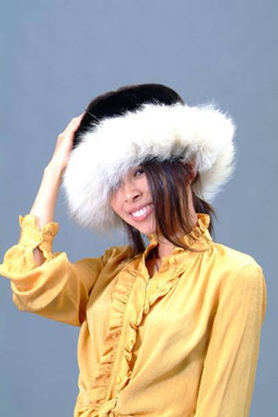 Black Faux Fur Hat with Natural Blue Fox Fur Trim