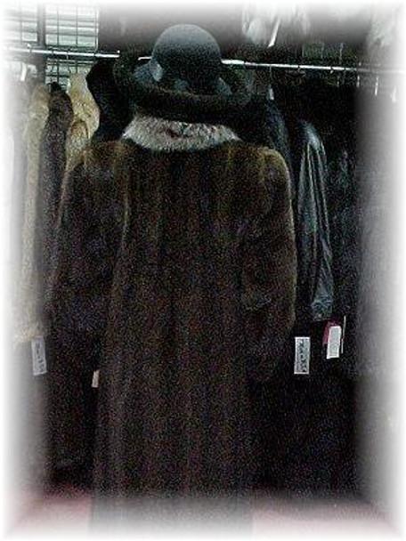 Buy Full Skin Mahogany Mink Fur Coat with Crystal Fox