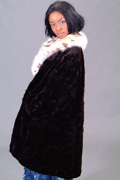 Sheared Mink 3/4 Fur Jacket with Full Skin Lynx Fur Collar