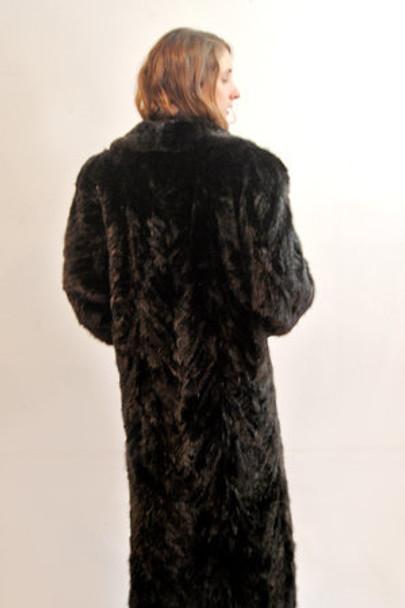 Classic Mink Design Coat with Indigo Fox Trimming