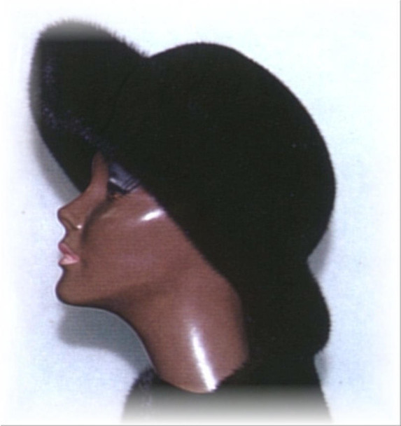 All Mink Large Brim Fur Hat