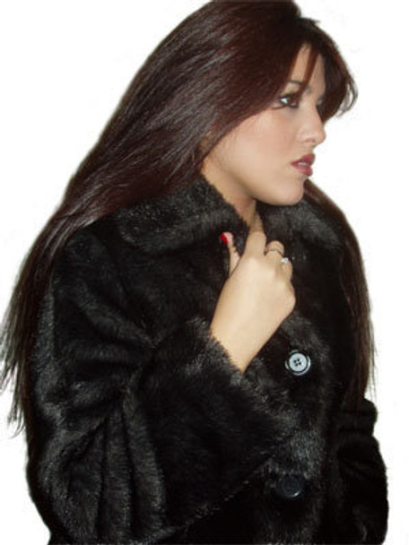 Black Ranch Mink Faux Fur 3/4 Ladies Jacket
