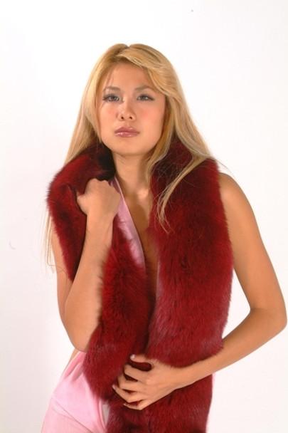 Dyed Burgundy Full Skin Fox Fur Boa