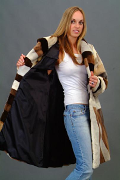 Vintage Fur Mink Multicolor Design Jacket
