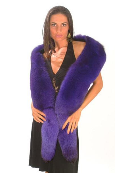 Blue Fox Fur Full Skin Scarf