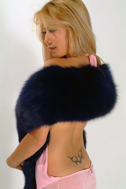 Double Full Skin Dyed Dark Blue Fox Fur Scarf