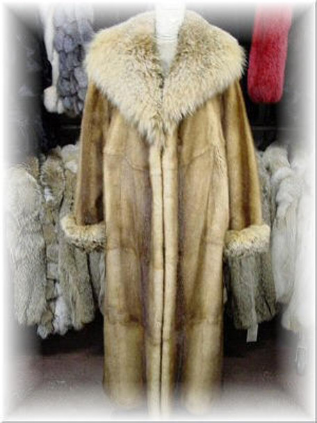 Full Skin Whiskey Mink Fur Coat with Coyote Fur Collar and Fur Cuffs
