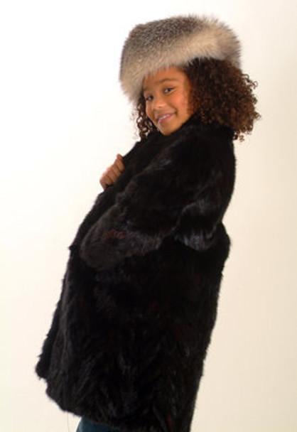 Kids Black Sheared Mink 3/4 Jacket