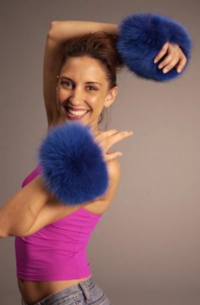 Buy Dyed Blue Fox Fur Cuffs