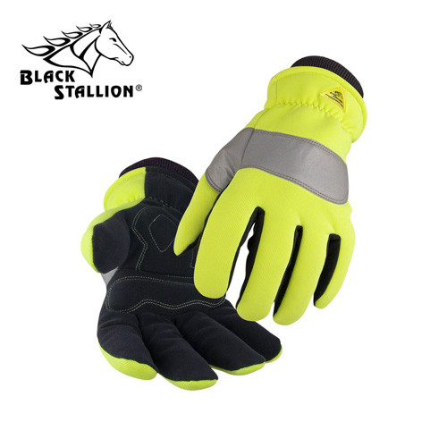 Spandex/Synth. Leather Storm Cuff Hi-Vis Insulated Mechanic's Gloves